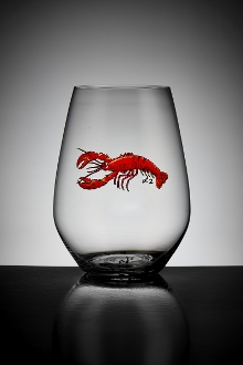 Crystal red lobster glass