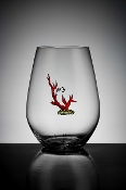 Crystal red coral stemless wine